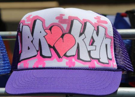 BROOKLYN, NEW YORK - JUNE 1, 2014: Graffiti style Brooklyn sign hat on display at Annual Bushwick Collective Jam Block Party at East Williamsburg in Brooklyn Reklamní fotografie - 36034561