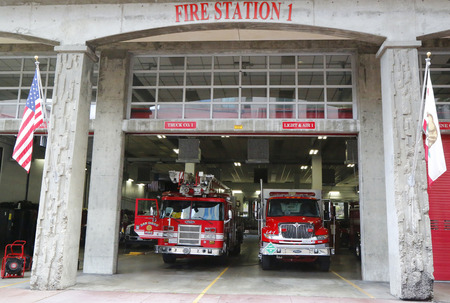 SAN DIEGO, CALIFORNIA - SEPTEMBER 28, 2014: San Diego Fire-Rescue Department Fire Station 1 in San Diego, California. Fire Station 1 was originally opened in 1904 新闻类图片