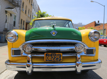 BROOKLYN, NY - JUNE 21, 2014: Checker Marathon Taxi Cab produced by the Checker Motors Corporation in 1956. The Checker remains the most famous taxi cab vehicle in the United States