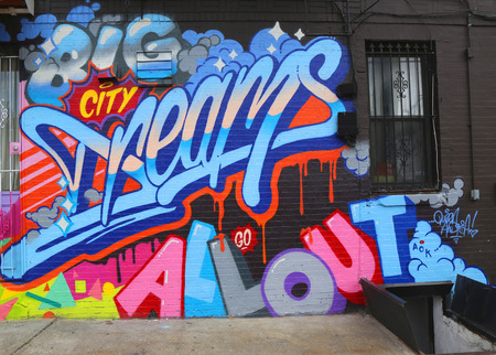 NEW YORK - JULY 24, 2014: Mural art in Astoria section in Queens. A mural is any piece of artwork painted or applied directly on a wall, ceiling or other large permanent surface