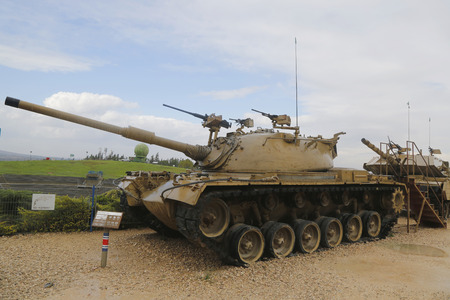 firepower: LATRUN, ISRAEL - NOVEMBER 27, 2014: American made M48 A3 Patton Main Battle Tank on display at Yad La-Shiryon Armored Corps Museum at Latrun Editorial