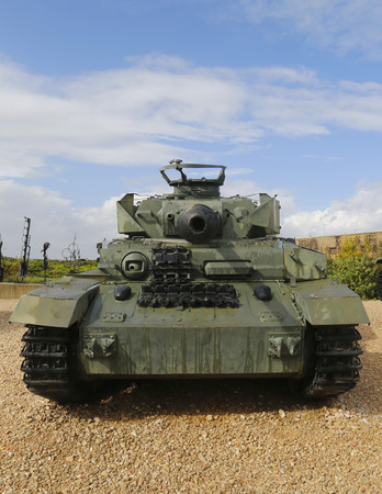captured: LATRUN, ISRAEL - NOVEMBER 27, 2014: German made Panzer PzKpfw IV medium battle tank captured by IDF on Golan Heights in 1967 on display at Yad La-Shiryon Armored Corps Museum at Latrun