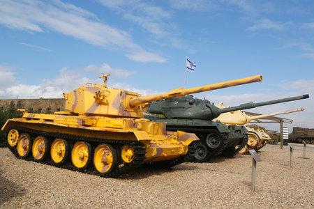 captured: LATRUN, ISRAEL - NOVEMBER 27, 2014: Battle tanks captured by IDF on display at Yad La-Shiryon Armored Corps Museum at Latrun
