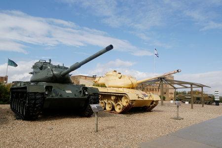 firepower: LATRUN, ISRAEL - NOVEMBER 27, 2014: M47 E1E2 Patton Main Battle Tanks on display at Yad La-Shiryon Armored Corps Museum at Latrun Editorial