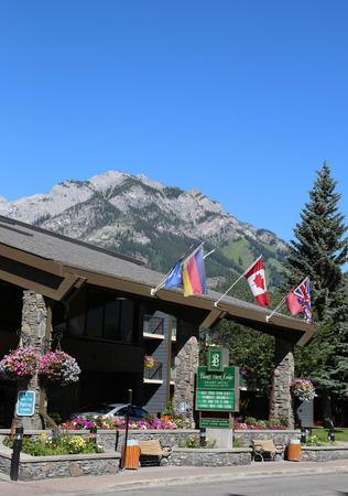 BANFF, CANADA - JULY 29, 2014: Banff Park Lodge Resort Hotel in the city of Banff. Banff is a resort town and one of Canada s most popular tourist destinations