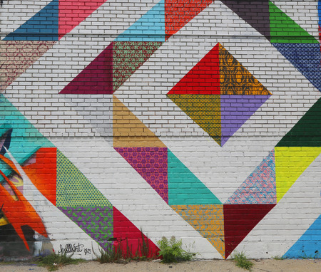 ceiling: NEW YORK - JULY 24, 2014: Mural art in Astoria section in Queens.A mural is any piece of artwork painted or applied directly on a wall, ceiling or other large permanent surface Editorial