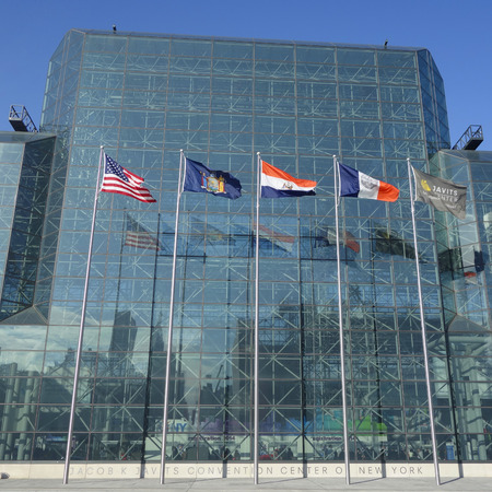 NEW YORK - DECEMBER 1, 2014: Javits Convention Center in Manhattan. The convention center has a total area space of 1,800, 000 square ft and has 840,000 square ft of total exhibit space