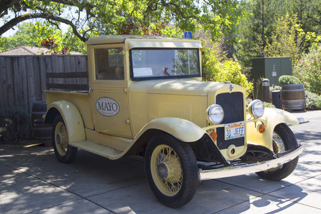 silverado: GLEN ELLEN, CALIFORNIA - APRIL 14: Vintage Chevrolet track at Mayo Family Winery. Mayo Family Winery is a producer of fine vineyard designated wines in Glen Ellen, California