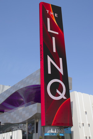 observation wheel: LAS VEGAS - MAY 9, 2014 -The LINQ Sign in Las Vegas. The LINQ is the open-air shopping and dining area leading up to The High Roller Wheel the world s largest observation wheel