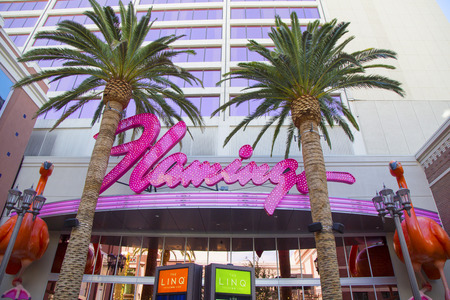 siegel: LAS VEGAS, NEVADA - MAY 10, 2014: Sign in the front of Flamingo Las Vegas Hotel and Casino. Mobster Bugsy Siegel opened The Flamingo Hotel & Casino on December 26, 1946