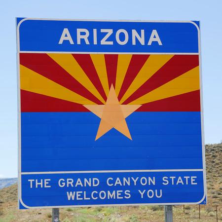 state of arizona: State of Arizona road sign at the state borde