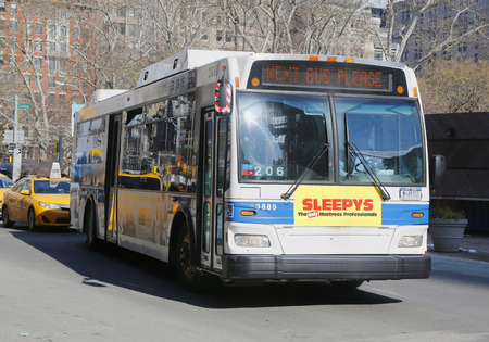 NEW YORK - FEBRUARY 19, 2015: New York City MTA bus in Manhattan. MTA Regional Bus Operations is the surface transit division of the Metropolitan Transportation Authority Editorial
