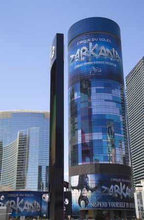 cirque du soleil: LAS VEGAS, NEVADA - MAY 10, 2014: Aria Hotel at CityCenter, urban complex on 76 acres (31 ha) located on the Las Vegas Strip with different hotels, casinos and residence