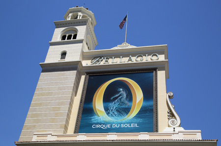 cirque du soleil: LAS VEGAS, NEVADA - MAY 10, 2014: The Bellagio Resort & Casino located on the Las Vegas Boulevard. Inspired by the Lake Como town of Bellagio in Italy, Bellagio is famed for its elegance Editorial
