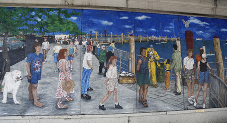 NEW YORK - FEBRUARY 22, 2015: Mural art in Sheepshead Bay section of Brooklyn. A mural is any piece of artwork painted or applied directly on a wall, ceiling or other large permanent surface Sajtókép