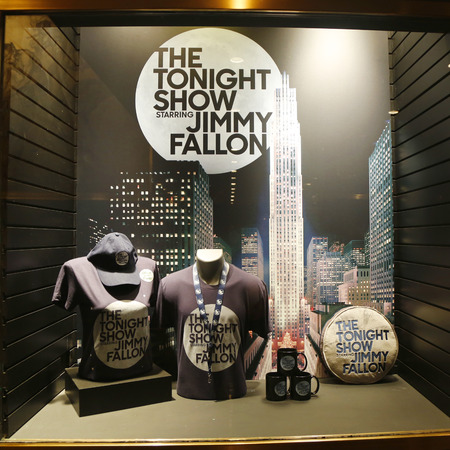 tonight: NEW YORK - FEBRUARY 26, 2015: Window display decorated with The Tonight Show with Jimmy Fallon logo in Rockefeller Center in Midtown Manhattan