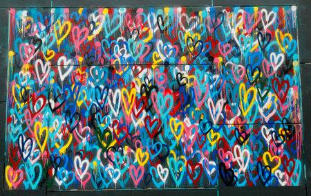 뉴욕 -2008 년 2 월 26 일 : 맨하탄에서 리틀 이탈리아에서 벽화. 벽화는 벽, 천장 또는 다른 대형 영구적 인 표면에 직접 페인트 칠되거나 적용된 작품 작 에디토리얼