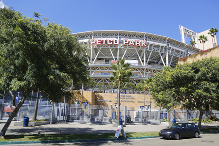 SAN DIEGO, CA - SEPTEMBER 27, 2014: Petco Park Stadium, home of the Padres baseball team, in San Diego. Petco Park is an open-air ballpark in downtown San Diego, California