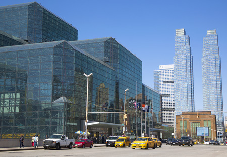 NEW YORK - APRIL 24, 2014: Javits Convention Center in Manhattan. The convention center has a total area space of 1,800, 000 square ft and has 840,000 square ft of total exhibit space