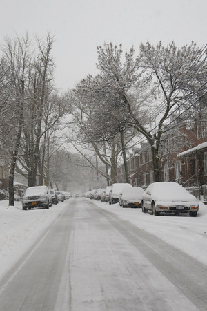 winter storm: BROOKLYN, NEW YORK - MARCH 5, 2015: Cars under snow in Brooklyn, NY during massive Winter Storm Thor