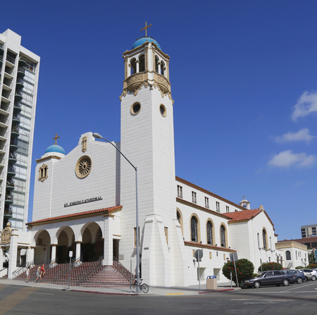 st  joseph: SAN DIEGO, CALIFORNIA - SEPTEMBER 27, 2014 St. Joseph Cathedral in the Cortez Hill neighborhood of downtown San Diego, California. It is the seat of the Diocese of San Diego Editorial