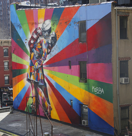 vj: NEW YORK - MARCH 12, 2015: Mural art by Brazilian Mural Artist Eduardo Kobra in Chelsea neighborhood in Manhattan. The mural is based on Alfred Eisenstaedt s 1945 photo from V-J Day in Times Square. Editorial