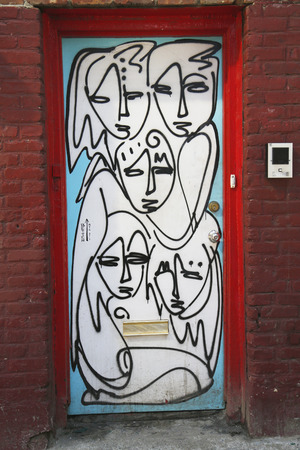 chelsea: NEW YORK - MARCH 12, 2015: Mural art by mural artist Jordan Betten in Chelsea neighborhood in Manhattan.