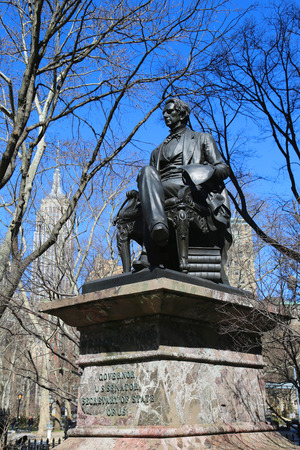 senator: NEW YORK - MARCH 12, 2015: William H. Seward statue at Madison Square Park. He served as the 12th Governor of New York, United States Senator and the United States Secretary of State