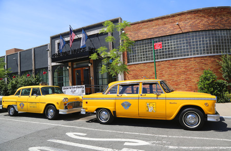 checker: BROOKLYN, NY - JUNE 21, 2014: Checker Marathon taxi cars produced by the Checker Motors Corporation. The Checker remains the most famous taxi cab vehicle in the United States