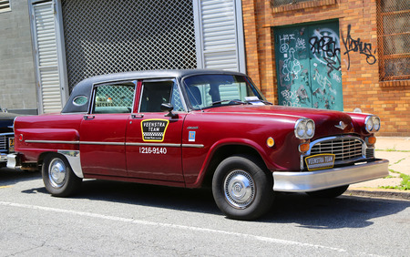 checker: BROOKLYN, NY - JUNE 21, 2014: Checker Marathon taxi car produced in 1982 by the Checker Motors Corporation. The Checker remains the most famous taxi cab vehicle in the United States Editorial