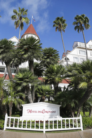 genre: SAN DIEGO - SEPTEMBER 27, 2014: Historic Hotel Del Coronado in San Diego. It is one of the few surviving examples of an American architectural genre: the wooden Victorian beach resort.