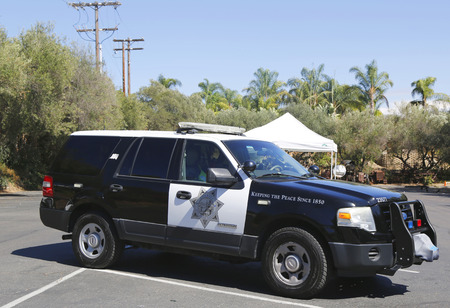 enforcement: SAN DIEGO - SEPTEMBER 26, 2014 - San Diego County Sheriff car. The San Diego Police Department is the primary law enforcement agency for the city of San Diego, California