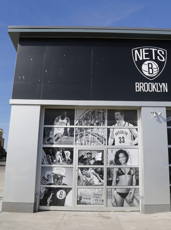 adidas: BROOKLYN, NEW YORK - MARCH 19, 2015 : Nets Lifestyle Shop by Adidas at Coney Island in Brooklyn.The Brooklyn Nets are a professional basketball team based in the New York City borough of Brooklyn