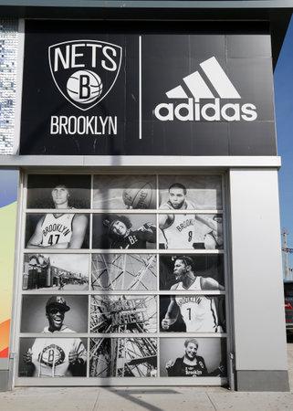 adidas: BROOKLYN, NEW YORK - MARCH 19, 2015 : Nets Lifestyle Shop by Adidas at Coney Island in Brooklyn.The Brooklyn Nets are a professional basketball team based in the New York City borough of Brooklyn