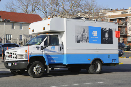 consolidated: NEW YORK - MARCH 19, 2015: Con Edison repair truck in Brooklyn. Consolidated Edison is one of the largest investor-owned energy companies in the United States