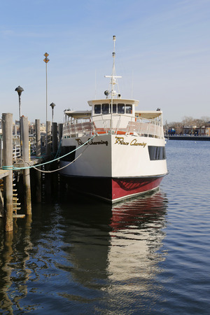 charter: BROOKLYN, NEW YORK - MARCH 19, 2015: Private charter boat on Sheeprshead Bay Marina in Brooklyn Editorial