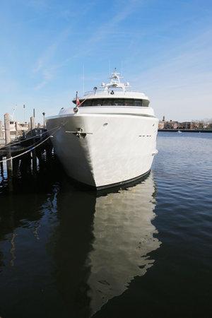 BROOKLYN, NEW YORK - MARCH 19, 2015: Luxury Atlantis Yacht Charter on Sheeprshead Bay Marina in Brooklyn