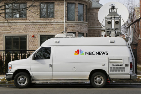 television: BROOKLYN, NEW YORK - MARCH 21, 2015: WNBC Channel 4 van in Brooklyn. WNBC is a television station located in New York City and is the flagship station of the television network Editorial