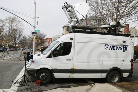 BROOKLYN, NEW YORK - MARCH 21, 2015: News 1 NY van in Brooklyn. Time Warner Cable News NY1 is an American cable news television channel that is owned by Time Warner Cable Editorial