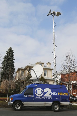 eyewitness: BROOKLYN, NEW YORK - MARCH 21, 2015: CBS Channel 2 HD News van in Brooklyn. WCBS-TV, channel 2, is the flagship station of the CBS Television Network, located in New York City