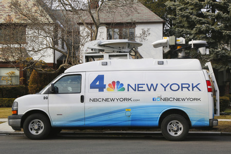 eyewitness: BROOKLYN, NEW YORK - MARCH 21, 2015: WNBC Channel 4 van in Brooklyn. WNBC is a television station located in New York City and is the flagship station of the television network Editorial
