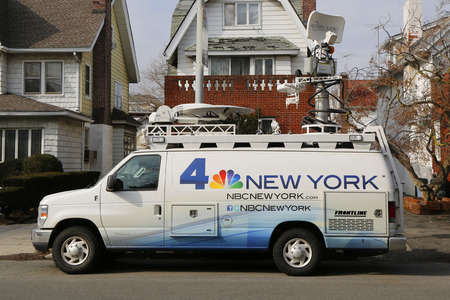 BROOKLYN, NEW YORK - MARCH 21, 2015: WNBC Channel 4 van in Brooklyn. WNBC is a television station located in New York City and is the flagship station of the television network Editorial