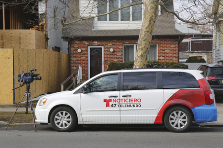 eyewitness: BROOKLYN, NEW YORK - MARCH 21, 2015: Telemundo Channel 47 van in Brooklyn. WNJU, channel 47, is an owned-and-operated station of the Spanish language Telemundo TV network