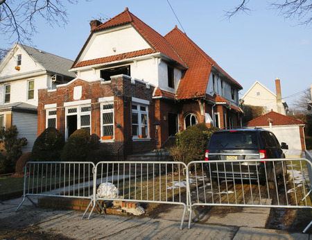jewish home: BROOKLYN, NEW YORK - MARCH 21, 2015: Burnt house after fire sparked by hot plate killed seven children in Midwood, Brooklyn