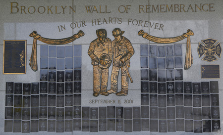9 11: BROOKLYN, NEW YORK - MARCH 19, 2015: FDNY fallen firefighters memorial in Brooklyn, NY. 343 firefighters were killed when World Trade Center buildings collapsed on September 11, 2001