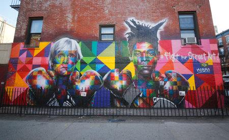 superstar: NEW YORK - MARCH 24, 2015:Mural art by Brazilian Mural Artist Eduardo Kobra recruits Pop art legend Andy Warhol and 80s art superstar Jean-Michel Basquiat to Fight For Street Art in Brooklyn