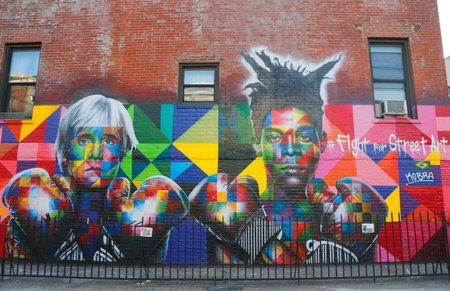 andy warhol: NEW YORK - MARCH 24, 2015:Mural art by Brazilian Mural Artist Eduardo Kobra recruits Pop art legend Andy Warhol and 80s art superstar Jean-Michel Basquiat to Fight For Street Art in Brooklyn