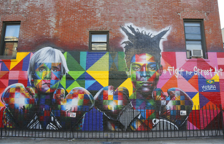 NEW YORK - MARCH 24, 2015:Mural art by Brazilian Mural Artist Eduardo Kobra recruits Pop art legend Andy Warhol and 80s art superstar Jean-Michel Basquiat to Fight For Street Art in Brooklyn