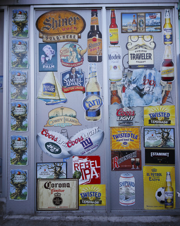 brewery: BROOKLYN, NEW YORK - MARCH 22, 2015: Beer labels on wall in Brooklyn. Beer is the world s most widely consumed alcoholic beverage, and is the third-most popular drink overall, after water and tea Editorial