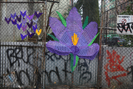 manhattan project: NEW YORK - MARCH 26, 2015: Street art at East Harlem in New York Editorial